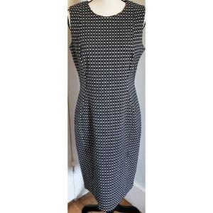 Calvin Klein Geometric Stretch Sheath Dress Black